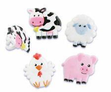 Farm Animals Cow Chicken Pig cupcake rings (24) party favor cake topper 2 dozen