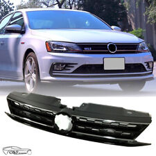 Fits 2015 2017 VW Jetta Front Upper Grill Honeycomb Black & Chrome Trim Grille