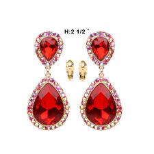 Red Chandelier Clip on Earrings Bridal Wedding Prom Party Crystal Rhinestone
