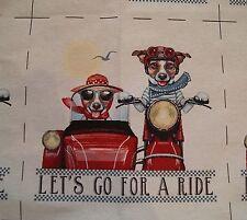 Gobelin Hund auf Motorrad 48x48 cm