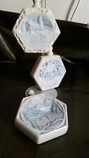 VINTAGE BLUE/WHITE WEDGEWOOD STYLE CERAMIC CHRISTMAS ORNAMENTS. WINTER SCENES