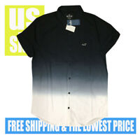 Hollister Men's NWT Epic FLEX Stretch Fade Black to White SH SLV Shirt LARGE