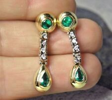 Estate 1.50ct Columbian Emerald & Diamond Dangle Drop Earrings 14K Gold