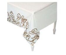 "50th Anniversary Birthday Table Cover Plastic White w/border Happy 50th 54""x108"""
