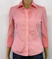 Banana Republic Women's Shirt Blouse Pink White Polka Dot 3/4 Sleeve Career XS