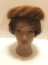Vintage Brown Mink Fur & Satin Circle Pillbox Hat With Veil Large Brown Bow