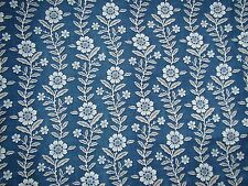 "SANDERSON CURTAIN FABRIC DESIGN ""Fleurie"" 3.1 METRES INDIGO AND CREAM COTTON MIX"