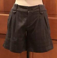Juicy Couture Dress Shorts Dark Gray Pleated Zip Pockets Cuff Cotton Soft Sz 0