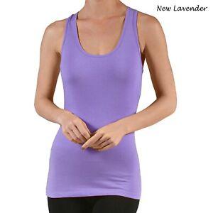 New Women's Active USA Basic Sleeveless Scoop Neck Racerback Tank Cami Top S,M,L