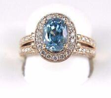 Oval Blue Zircon Gemstone & Diamond Solitaire Ring 14k Rose Gold 6.73Ct