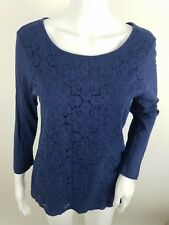 Old Navy Womens Shirt Size Medium Lace Front Blue Long Sleeve