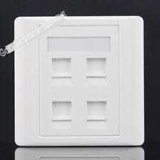 Wall Socket 4 Port Network LAN Three CAT6 RJ45 & RJ11 Telephone Panel Faceplate