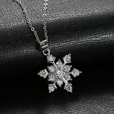 Snowflake 925 Sterling Silver Cubic Zirconia Jewelry Pendant Necklace Chain 18""