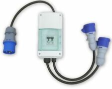 32 AMP / 2x 16 AMP DISTRIBUTION SPLITTER BOX With MCB Breaker 32A to 2x 16A