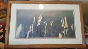 """Stephen Lyman """"THE PASS"""" Framed Matted L/E Print 693/850 Bighorn 1982 23x37"""