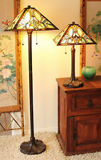 "Tiffany Style Amber Floral Table and Floor Lamp Set Handcrafted 16"" Shade NEW"