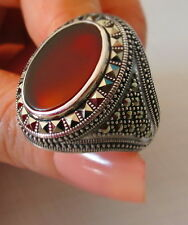 MEN RING 925 STERLING SILVER BROWN  AGATE TURKISH OTTOMAN #355