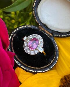 Art Deco Pink Sapphire and Diamond Platinum Ring 0.40ct + 1.0ct