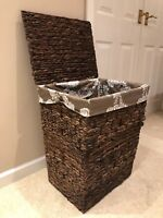 Laundry Basket With Lining And Lid Home School Office Nursery Wicker Storage Box