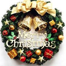 Merry Christmas Party Poinsettia Pine Wreath Door Wall Garland Decor 30CM