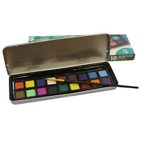 Watercolour Pan Set of 18 Colours & Paint Brush in Metal Tin