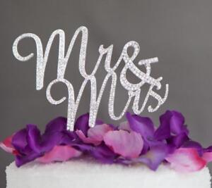 "Mr & Mrs Rhinestone Wedding Cake Topper 4-1/2"" X 3"" USA Seller"