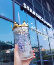 Starbucks 2020th Anniversary Fish-scale Crown Lid Dazzle Color Glass Straw Cup