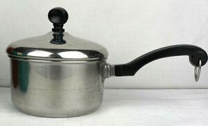 Vintage Farberware Stainless Steel 1 Qt Saucepan Pot w/Lid Aluminum Clad USA