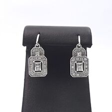 New Deco Style Ciemme 10k White Gold Round Baguette Dangle Diamond Earrings