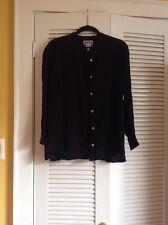 Vintage Sigrid Olsen Black Rayon Blouse size Med