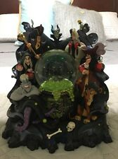 Big DISNEY VILLAINS MUSICAL SNOW GLOBE Maleficent Ursula Jafar Hook Scar Plus