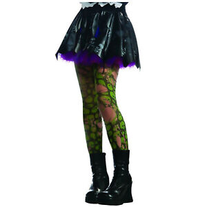 Child Girl's Ripped Torn Green Zombie Skull Gothic Punk Halloween Costume Tights
