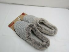 NEW DEARFOAMS MEMORY FOAM SOFT WOMEN SLIPPERS SIZE M (7-8) GREY FAUX FUR