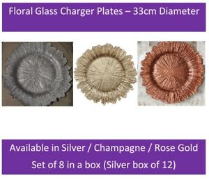 Silver Floral Glass Charger x12 Plate Weddings  33cm Diameter Decor UK