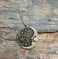 925 Antique Silver Plt Moon & Stars Pendant Necklace Pagan Wiccan Celtic Norse
