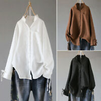 UK Women Oversize V Neck Long Sleeve Buttons Casual Loose Tops Shirt Blouse Plus