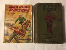ZANE GREY'S WESTERN MAGAZINE July 1951 & THE YOUNG PITCHER HARDCOVER BOOK 1911
