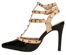 Womens Stiletto Patent High Heel Stud Pump Sandal Ladies Shoes Rose Gold Black