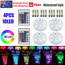 4x RGB LED Light Remote Control Multi Colour Changing Submersible Waterproof AU
