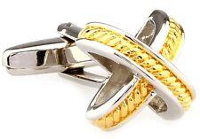 X 2 Tone Cufflinks Check Braid Design Wedding Fancy Gift Box Free Ship USA