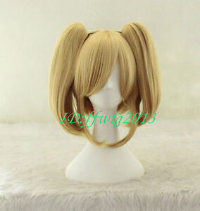 Blonde Heat Friendly Clip on Ponytail Hair Lolita Animation Cosplay Party wig