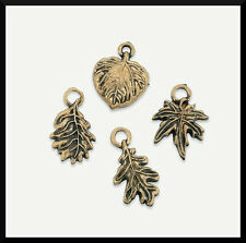 4 Leaf Charms Antiqued Goldtone Metal 13mm Crafts & Jewelry ABCraft Fall Autumn