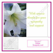 10 BEREAVEMENT FUNERAL THANK YOU SYMPATHY CARDS MEMORY MEMORIAL NOTE CARD LILIUM