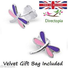 925 Sterling Silver Dragonfly Stud Earrings Kawaii Harajuku Gift Dragon Fly