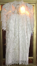 Vintage Lawrence Kazar White Lace Beaded Evening Dress L