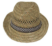 Hawkins Straw Trilby Natural Straw Summer Sun Trilby Hat With Band