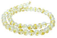 😏 Bergkristall Perlen Kugeln 8 mm mit GOLDENEN DRACHEN Edelsteinperlen Strang😉