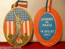 INSIGNE JOURNÉE GUERRE 1914 1918 USA LIBERTY STATUE 1917
