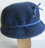 Velour Blue Fur Felt Hat w/Bow/Hat PinMerrimac Cloche PeachBloom Prop Rare