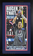 Boston Herald Newspaper New England Patriots Super Bowl VI 2/6/2017 Framed